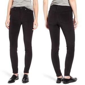 """Madewell 9"""" High Rise Black Velvet Stretch Jeans"""